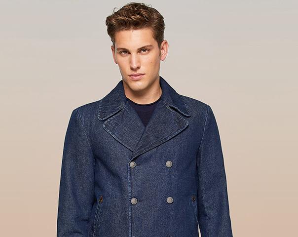 Manteau croisé en denim